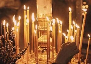 Присушка на мёд и свечи в церкви