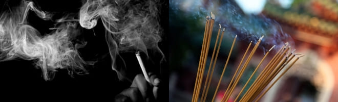 Ароматные палочки и закуренная сигарета