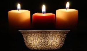 Железная чаша с водой и 3 свечи