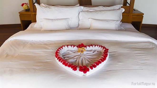 Полотенце на день влюблённых