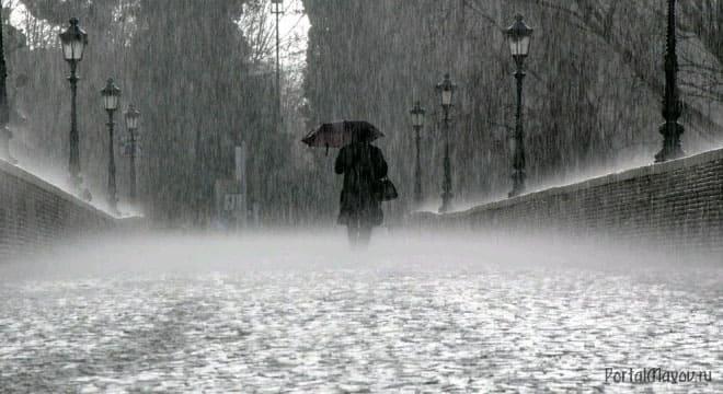 Идёт сильный дождь